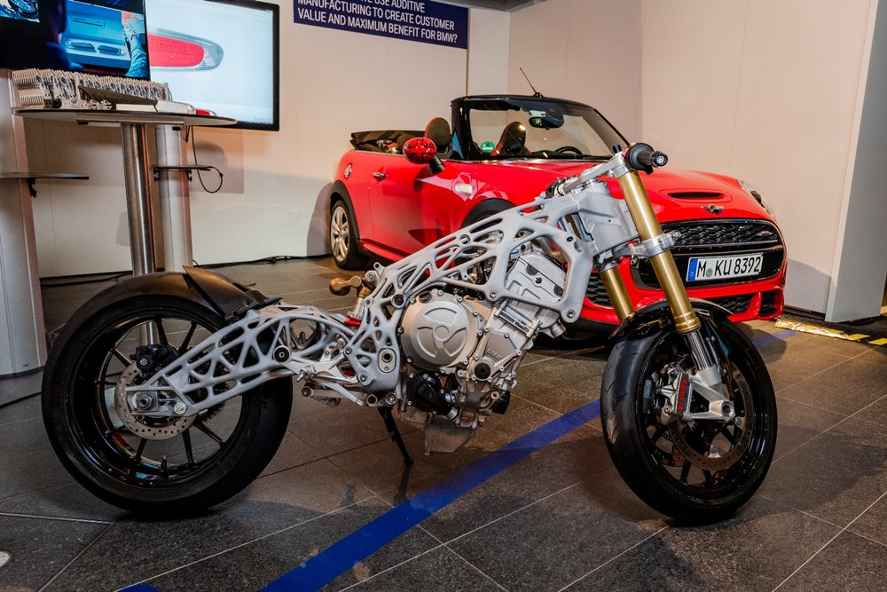 BMW 3D printed motorbie frame from Digital Day 2018